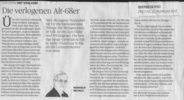Die verlogenen Alt-68-er, Rheinische Post vom 20.2.2015