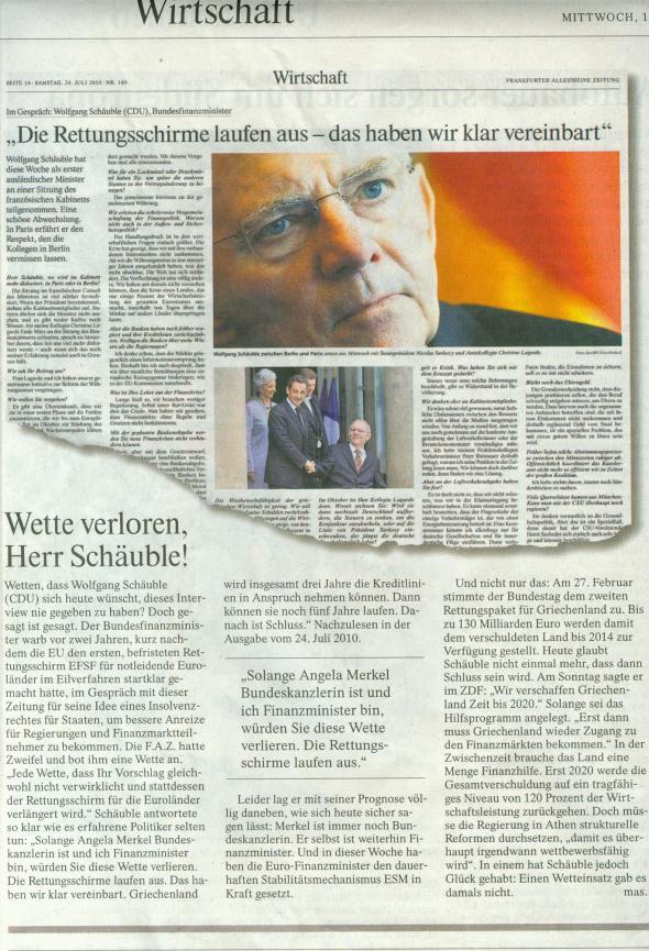 Schäuble: Wette verloren: FAZ vom 10.10.2012