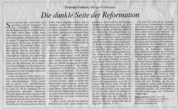Die dunkle Seite der Reformation nach Margot Käßmann