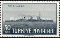 Schlachtkreuzer Yavus auf einer Briefmarke 1949