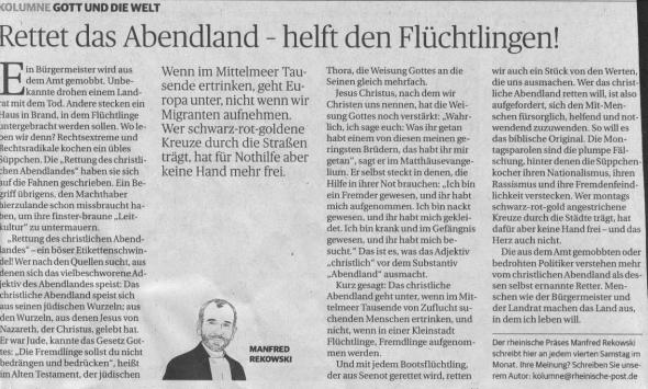Präses Manfred Rekowski in der Rheinischen Post vom 25. April 2015