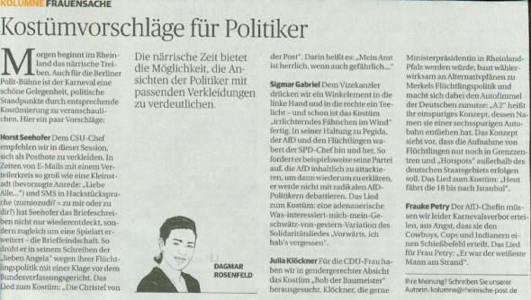 Dagmar Rosenfeld in der Rheinische Post vom 3.2.2016